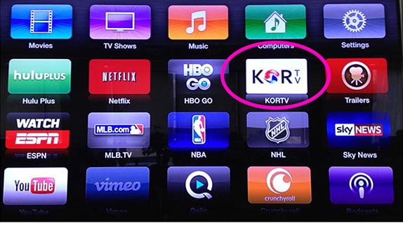 2. 리모콘 사용하여 KORTV 앱 선택