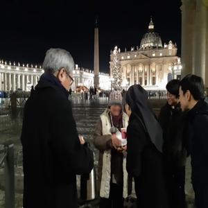수녀,광장,야고보,노숙인,사람,지금,바티칸,마음,목요일
