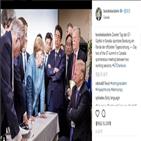 대통령,트럼프,정상회의,사진,메르켈,총리,마크롱,관세