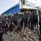 노동자,미얀마,폭행,파업,의류,경찰