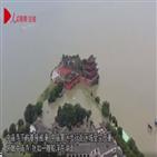 제방,중국,홍수,안후이성,굴착기,실종
