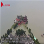 제방,홍수,안후이성,굴착기,중국,실종,수재민