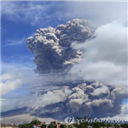 시나붕,화산,분화,인도네시아