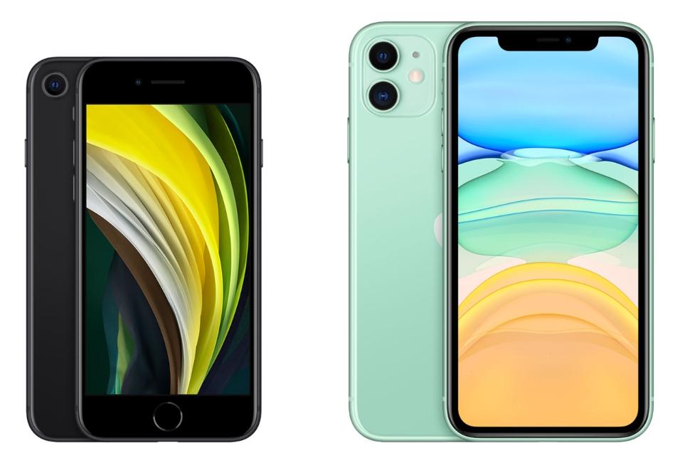 아이폰SE 2세대(왼쪽), 아이폰11(오른쪽) 비교 (사진: 애플 홈페이지)