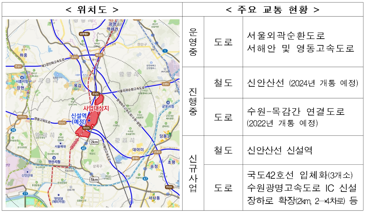 ▲안상장상 지구 위치도 및 주요교통현황. 자료=국토교통부.