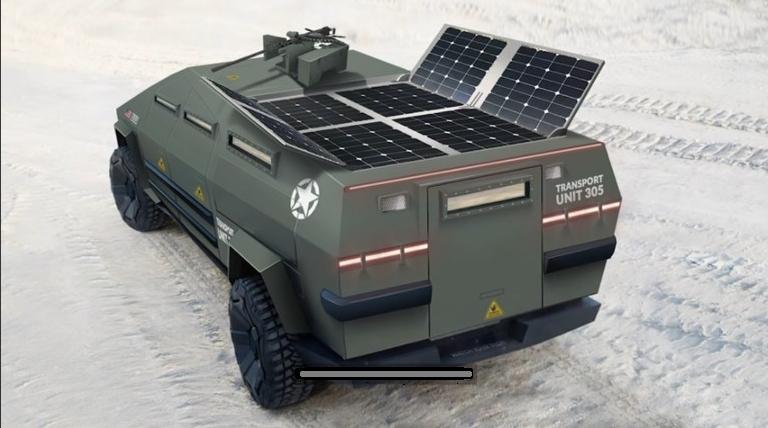 태양광 패널을 장착한 테슬라 사이버트럭