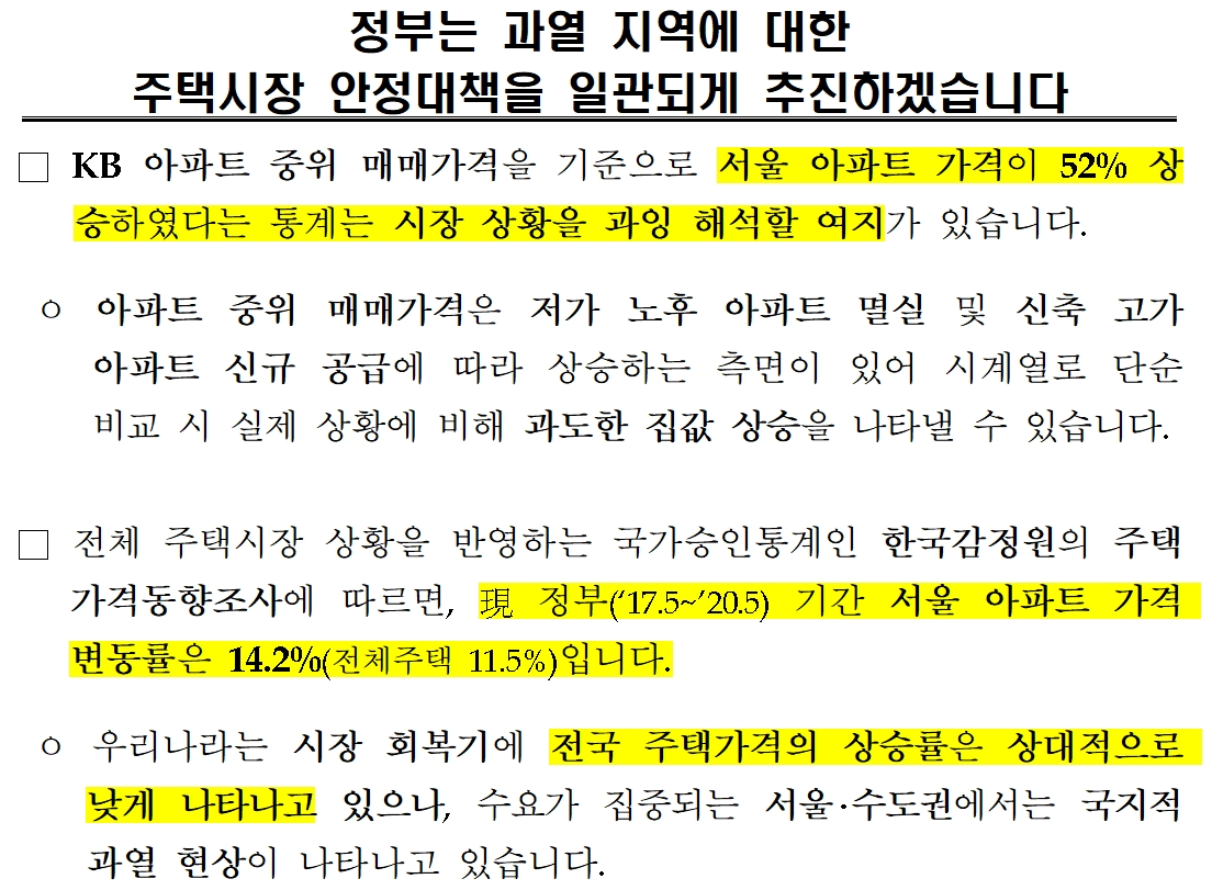 국토부는 3년간 서울 집값은 14%(한국감정원) 오르는데 그쳤다고 밝혔다.