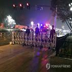 인민대회당,북문,북한,취재진,공안,차량,오후,사이드카,모습