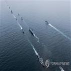 함정,해상사열,해군,로널드레이건호,사열,특전요원