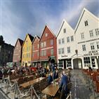 베르겐,건물,노르웨이,피오르,항구,해산물,정도,호수,관광객,가장