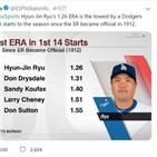 류현진,평균자책점,다저스,투수,전설,경기