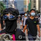 시위대,경찰,통신,마스크,홍콩,이날,시위,화염병