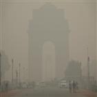 뉴델리,기준,2.5,대기오염,13일,심각