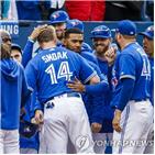 토론토,류현진,올해,아메리칸리그,홈런,거리