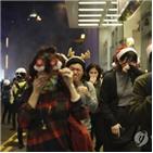 홍콩,시위대,시위,경찰,크리스마스,쇼핑몰,자정,미사,최루탄,전날
