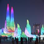 공원,얼음,하얼빈,행사장,빙등제,중국,자오린,원조