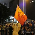 중국,홍콩,국기,시위대