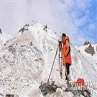 정상,중국,측량팀,높이,에베레스트산,글로벌타임스,이용,측량,해발