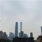 중국,도시,경보,북부,대기오염