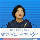 김치,김치의,김정숙,여사,기념식