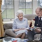 여왕,부부,엽서,엘리자베스