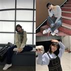 캐주얼룩,스타일,제니,머플러,오버올