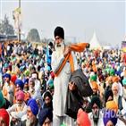 인도,캐나다,총리,트뤼도,농민,정부,발언,시위