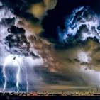 도시,에어로졸,뇌우,영향,폭풍우,분석