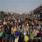 농민,시위,인도,정부,뉴델리,교통사고,추위