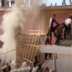 무슬림,파키스탄,힌두교도,사찰,힌두교,현지,소요,군중