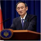 일본,스가,코로나19,총리,확산,확진자가,개최