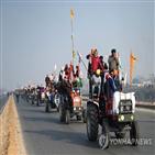 농민,시위,뉴델리,농업,인도,경찰