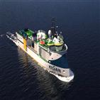 물리탐사연구선,한진중공업,건조,수주,탐사,지질자원연,최첨단,4D,3D