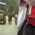 시위,미얀마,군부,차량,쿠데타,시민,시민불복종,승려
