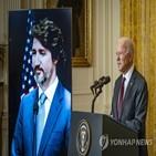 바이든,대통령,트뤼도,미국,중국,총리,캐나다,화상,양자회담