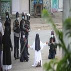 군경,수녀,미얀마,시위,무릎,여성,사진,통신,이날,시위대