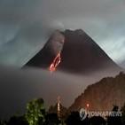화산,용암,인도네시아,화산재,상수도관,산사태