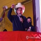 카스티요,대통령,승리,페루,축하,후보
