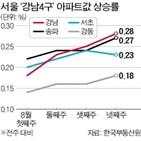 위주,아파트,상승률,서울,강남구,수요,아파트값,가장