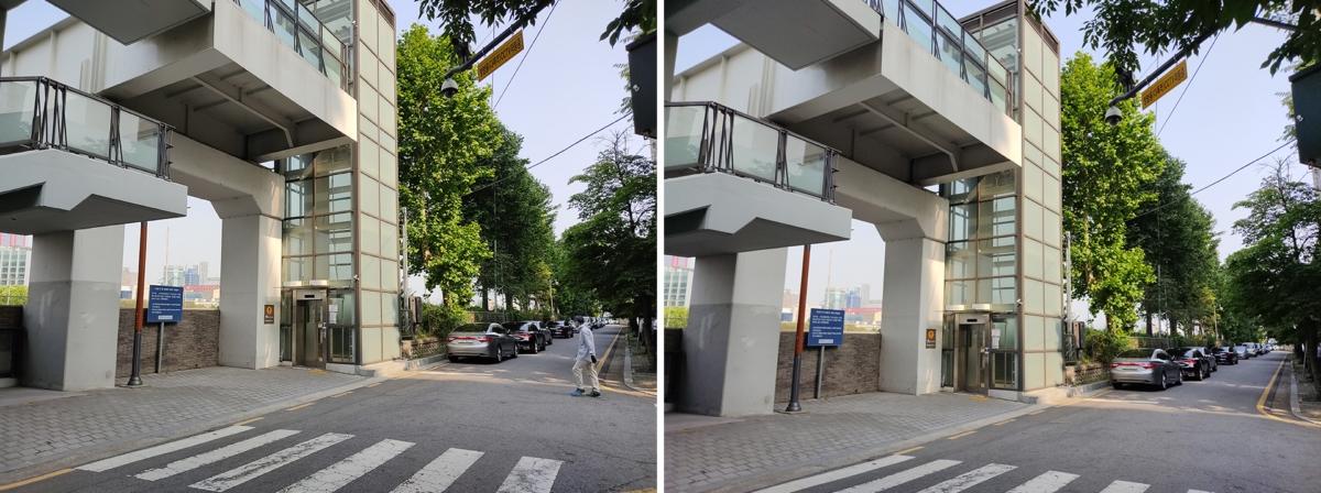 홍미노트9S 후면카메라 비교 1,200만(왼쪽) 4,800만(오른쪽)