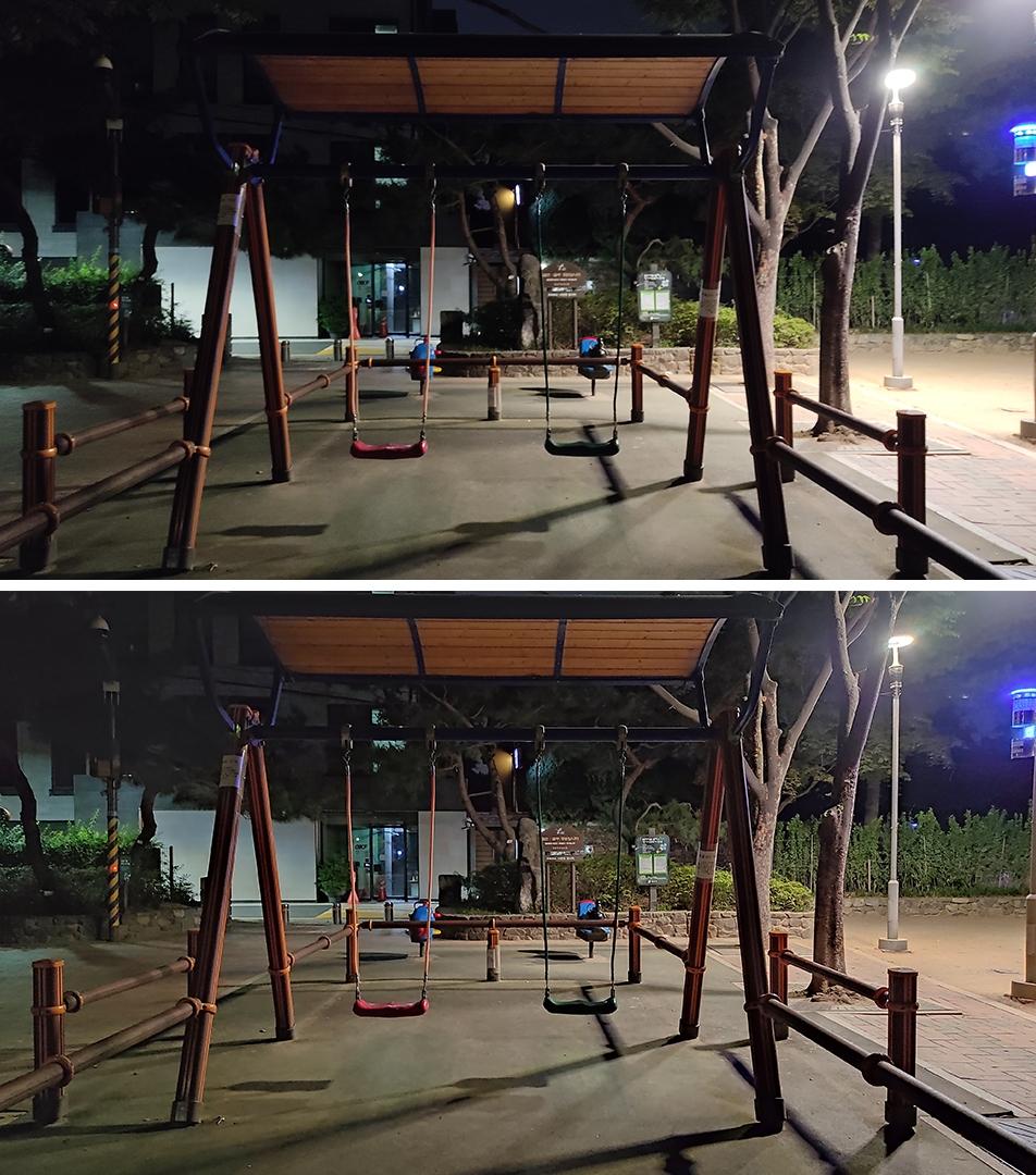 홍미노트9S 후면카메라 비교 일반 1,200만(위) 야간모드(아래)