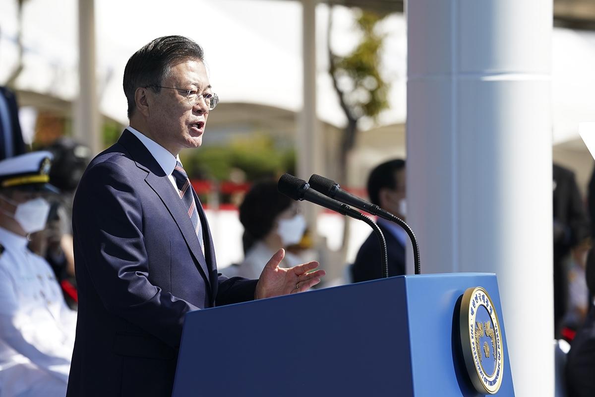 문 대통령이 25일 제72회 국군의날 기념행사에 참석했다. (청와대 제공)