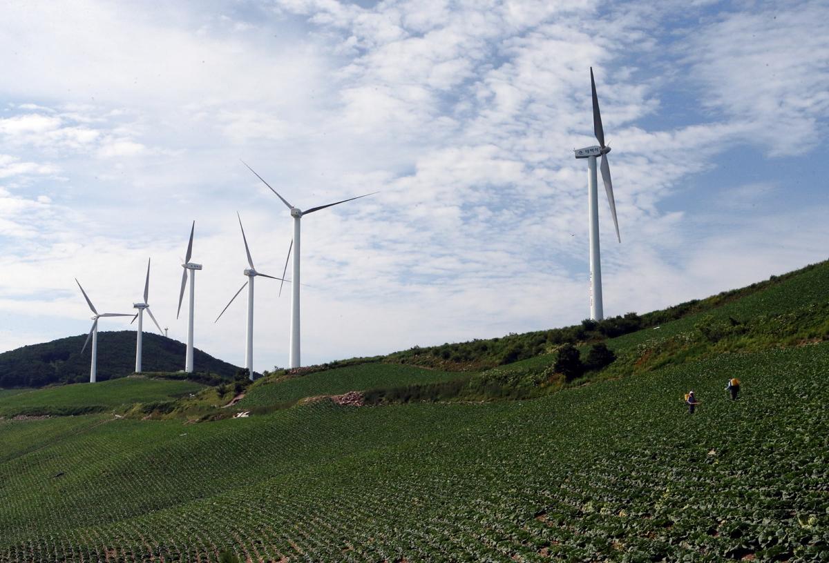 전국 최고랭지인 강원 태백시 매봉산의 풍력발전소. 사진출처: 연합뉴스
