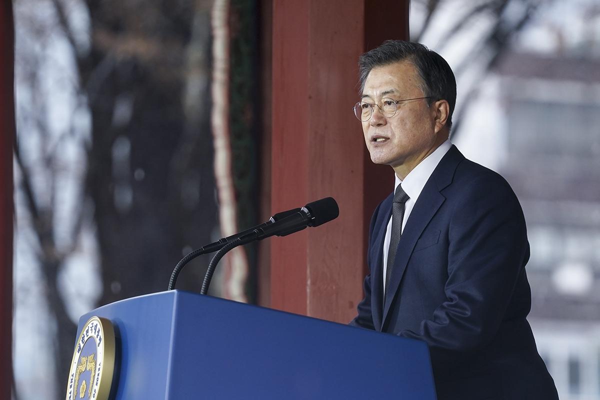 문 대통령은 1일 서울 종로구 탑골공원에서 열린 제102주년 3·1절 기념식에 참석했다. (청와대 제공)