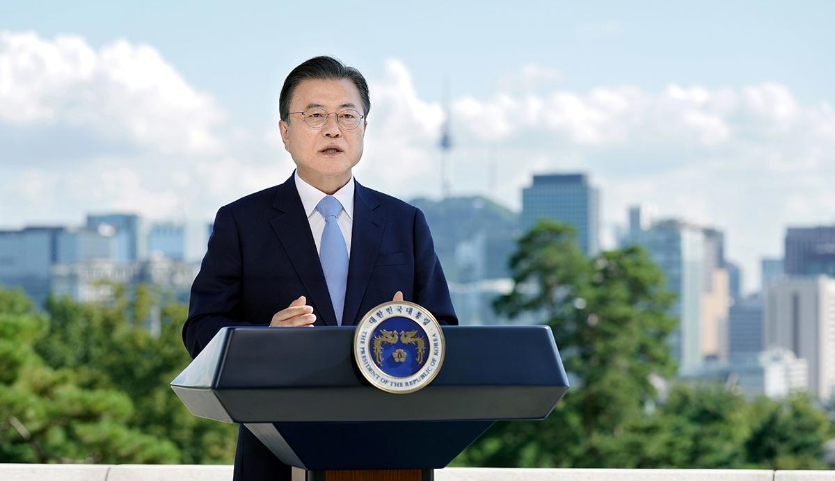 문 대통령은 7일 `제2회 푸른 하늘의 날 기념식`을 맞아 영상 메시지를 전했다. (청와대 제공)